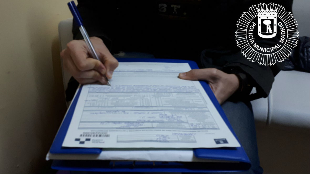 Denuncia realizada por la Policía Municipal de Madrid