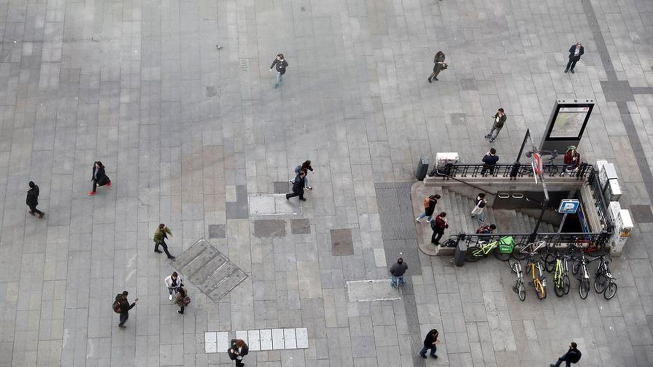 Vista aérea de la plaza de Callao en Madrid, 'vacía' por el coronavirus
