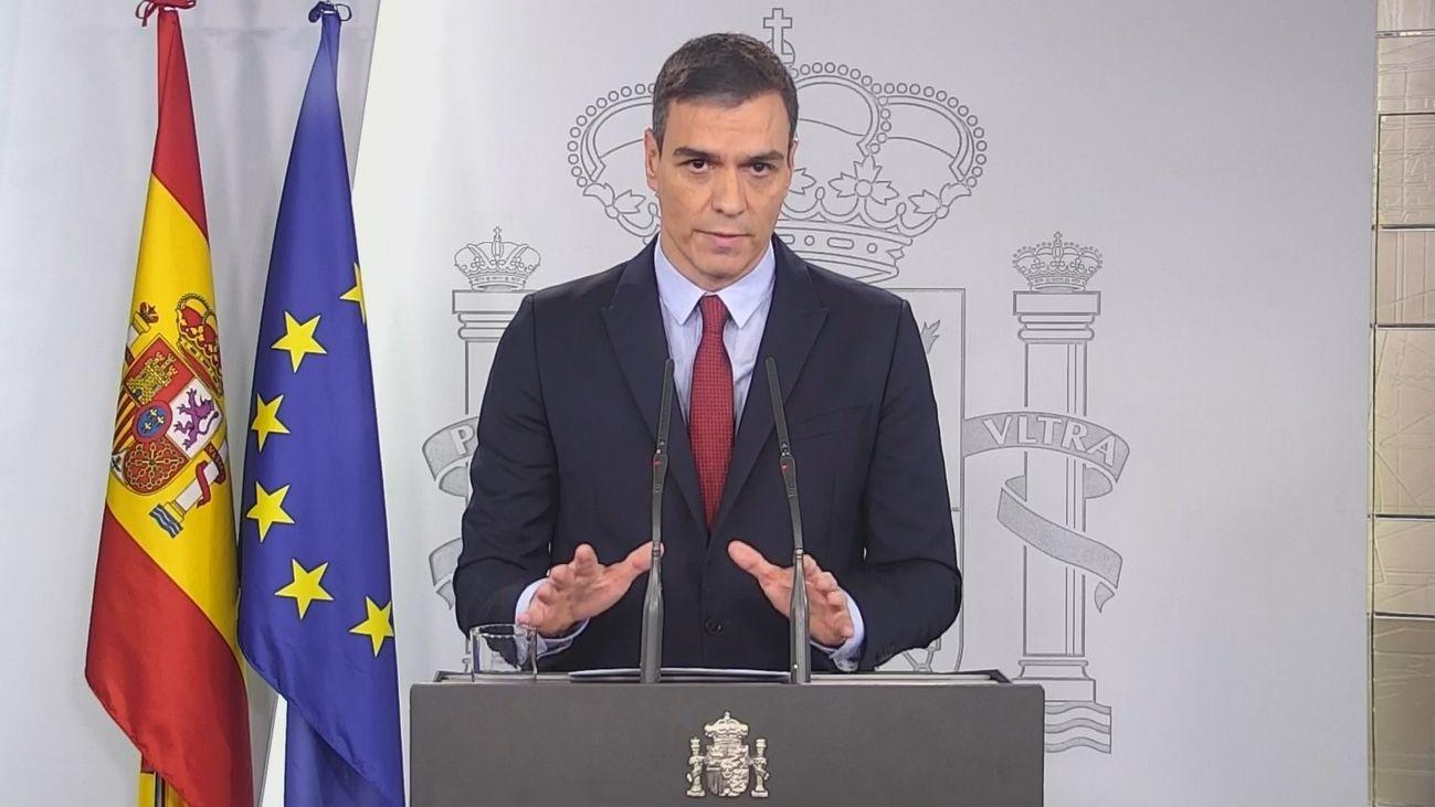 Sánchez, en la comparecencia públicar para decretar el estado de alarma