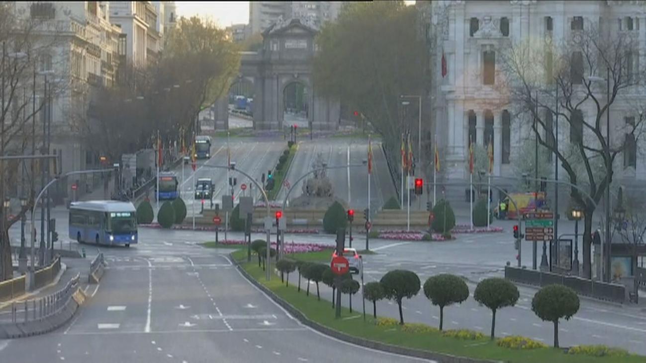 Madrid, una ciudad  fantasma en el primer día del estado de alerta