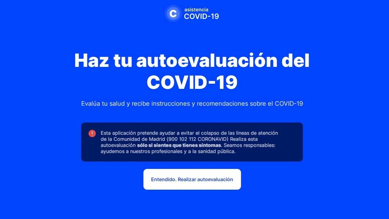 Página principal de la web coronamadrid.com