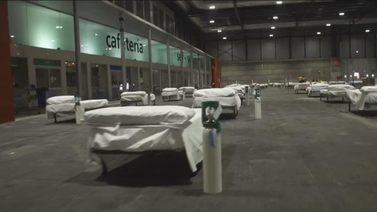Preparados dos pabellones más en el hospital temporal de Ifema