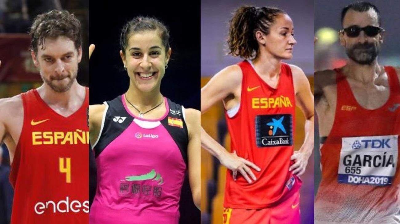 Pau Gasol, Carolina Marín, Laia Palau y Jesús García Bragado