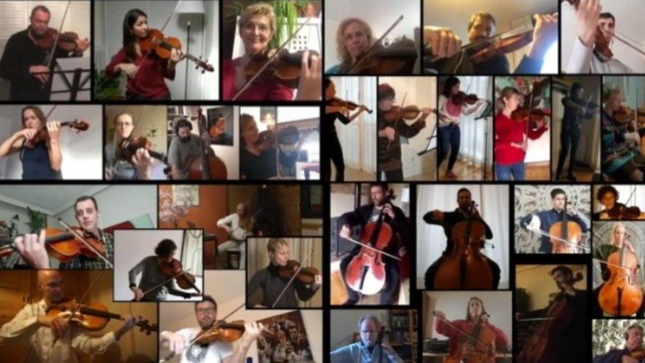 La Orquesta de Castilla y León interpretando el 'Himno a la Alegría' desde casa
