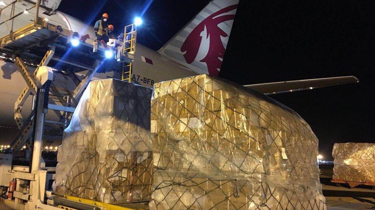 Avión con material sanitario para la Comunidad de Madrid