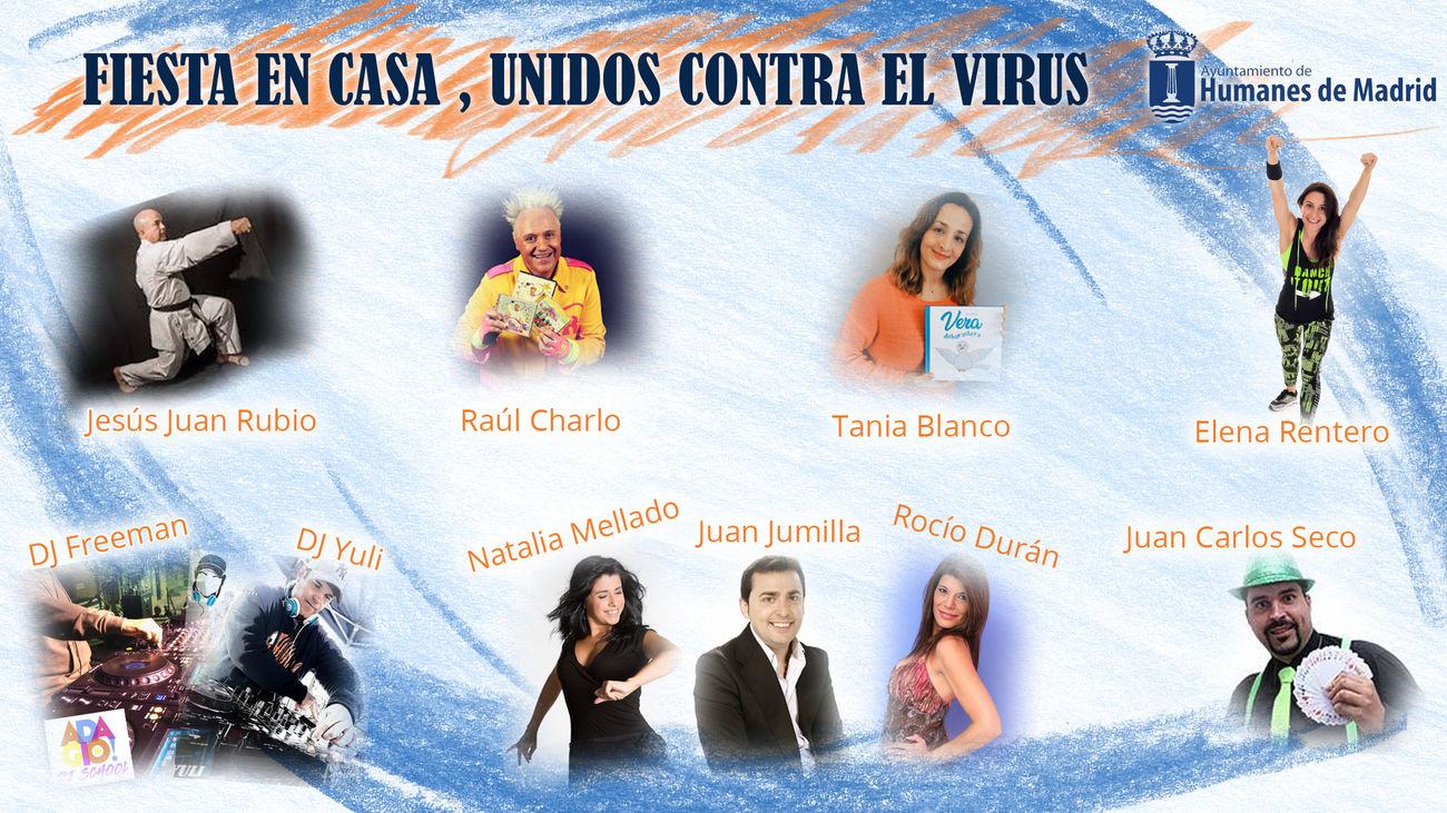 Cartel de 'Fiesta en casa, unidos contra el virus'