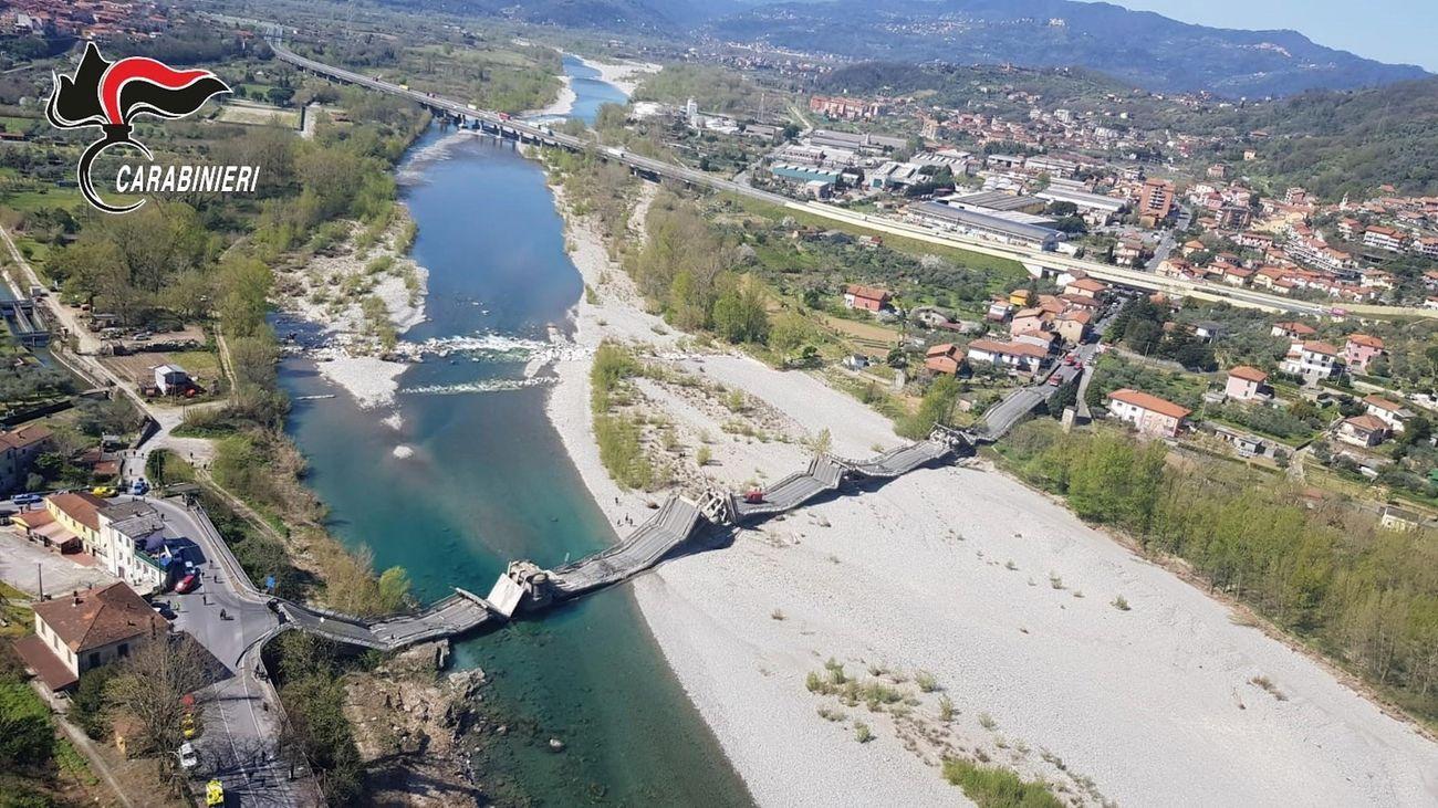 El puente de Albiano Magra, derrumbado