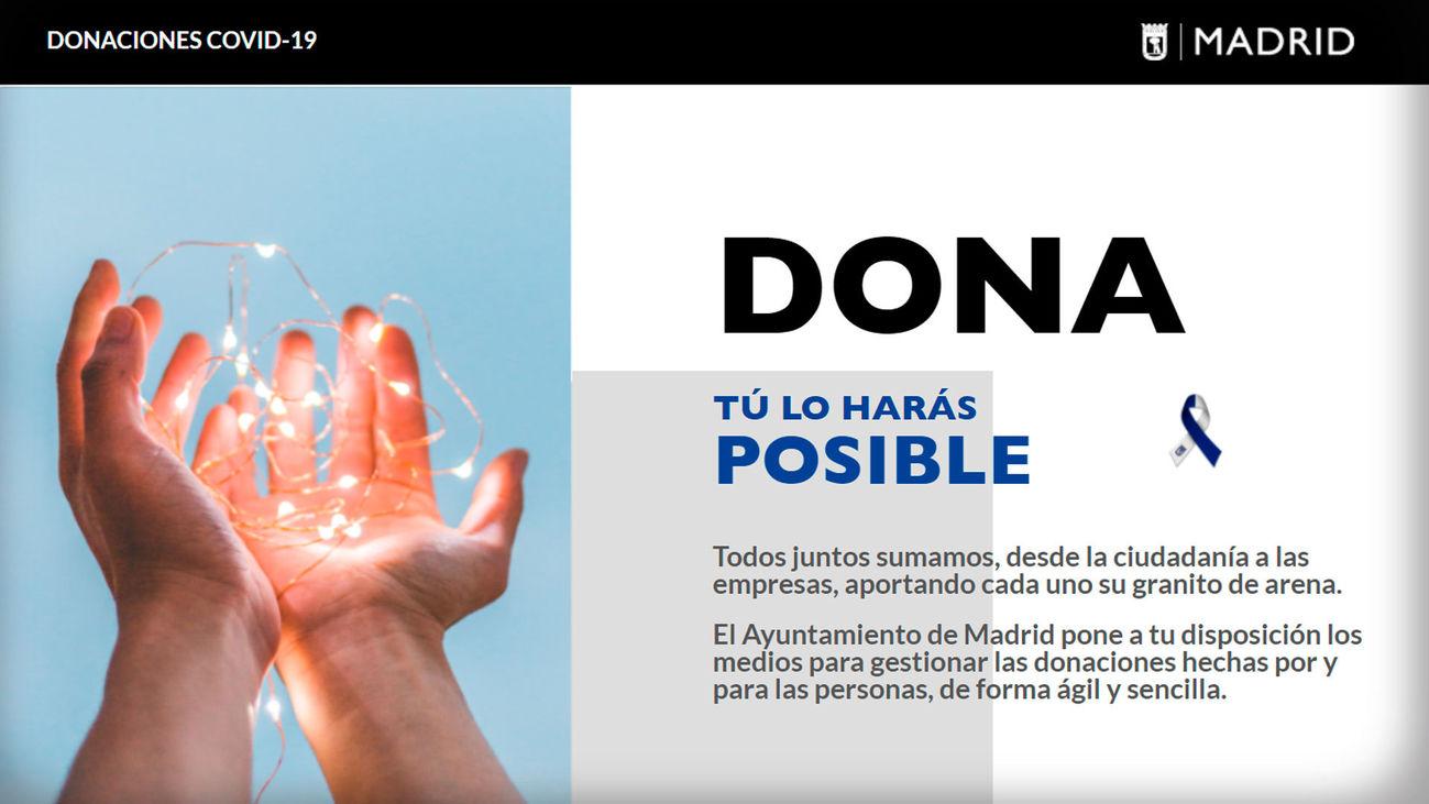 El Ayuntamiento de Madrid abre una web para centralizar las donaciones del coronavirus