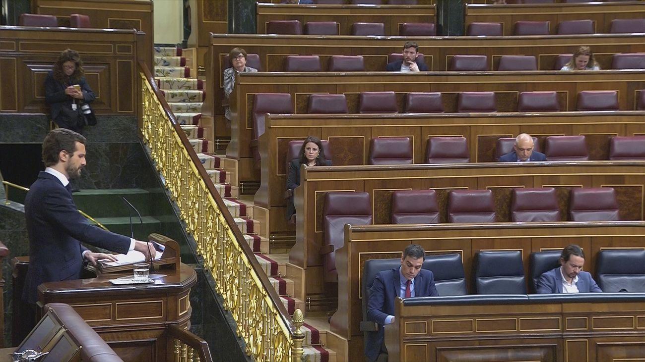 Pablo Casado en su turno de réplica en el Congreso de los Diputados