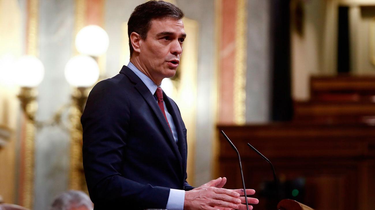 El presidente del Gobierno, Pedro Sánchez, durante su intervención en el pleno del Congreso celebrado este jueves (Europa Press)