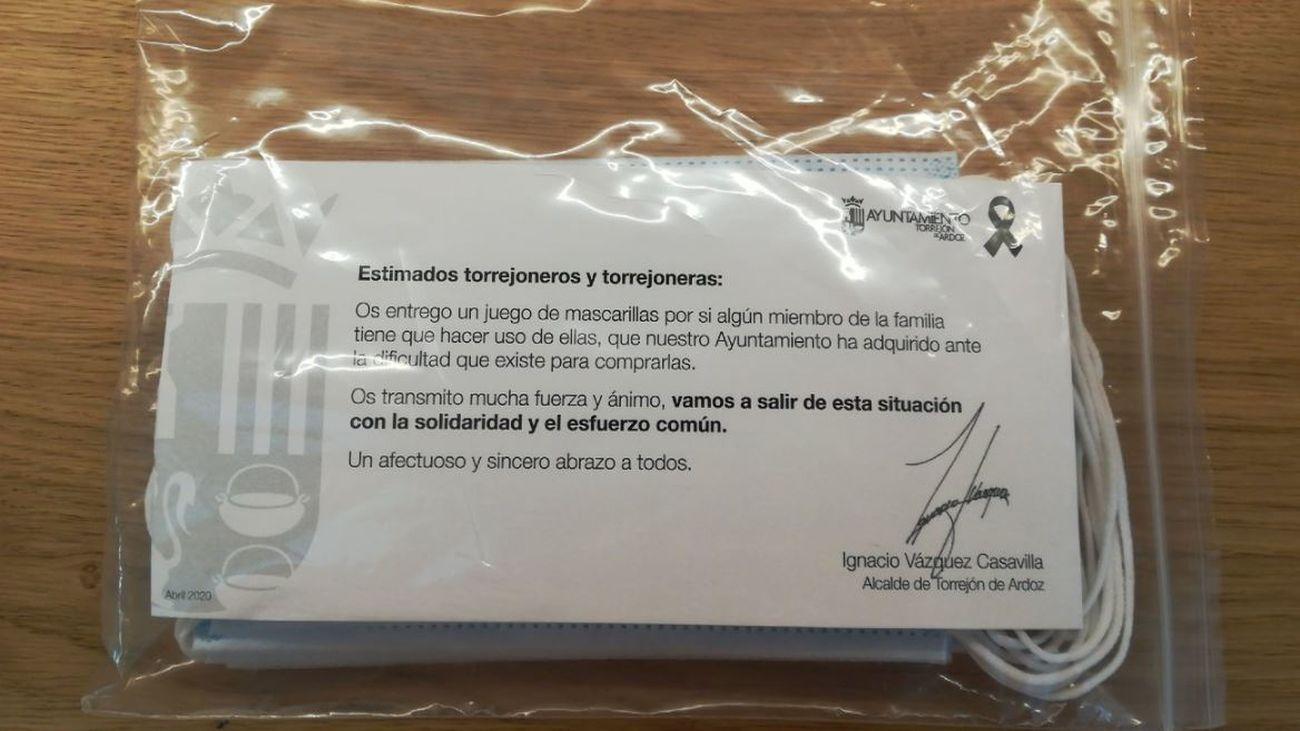 Mascarillas repartidas por el Ayuntamiento de Torrejón de Ardoz