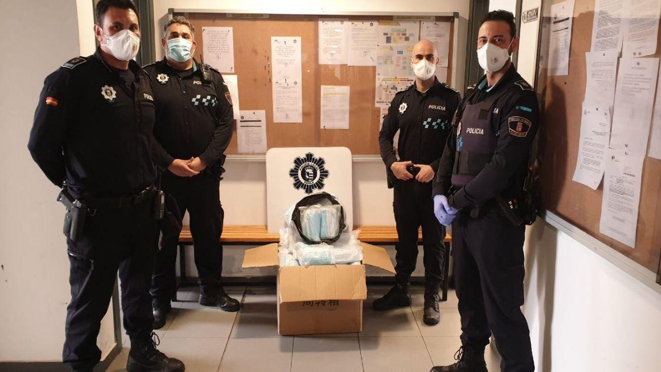 La Policía de Parla con las mascarillas incautadas
