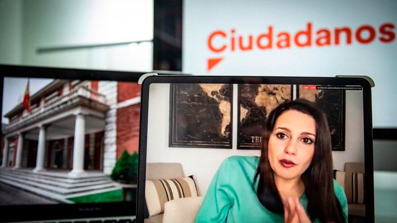 Inés Arrimadas en rueda de prensa telemática en el Congreso de los Diputados (Europa Press)