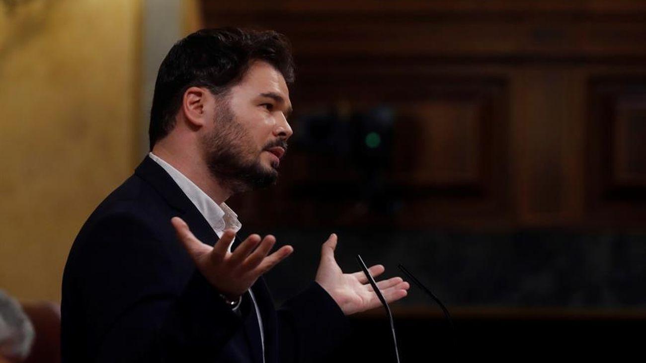 Gabriel Rufián durante su intervención en el Congreso