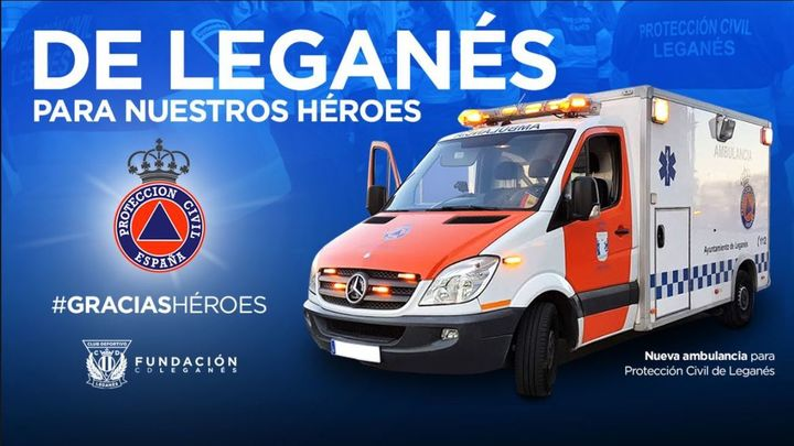 El CD Leganés dona una ambulancia nueva a Protección Civil