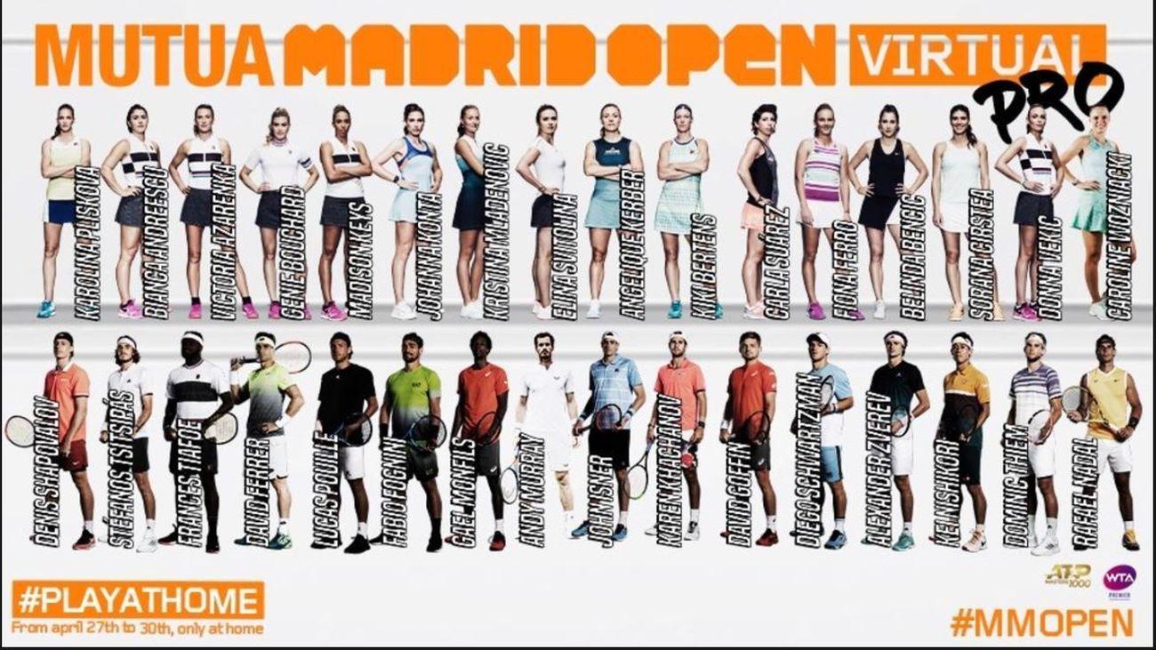 Los mejores tenistas del mundo se citan en el 'Mutua Madrid Open Virtual Pro'
