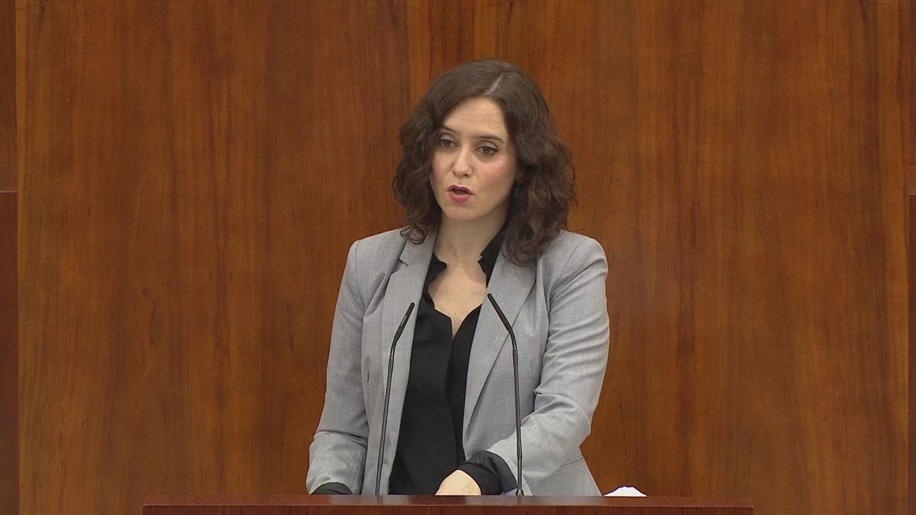 Isabel Díaz Ayuso defiende la gestión de la Comunidad de Madrid en la Asamblea regional