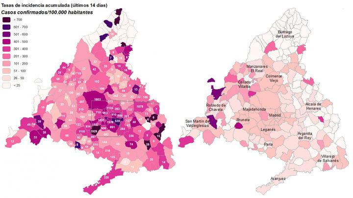 El descenso de contagios de coronavirus 'despeja' el mapa de Covid-19 en Madrid