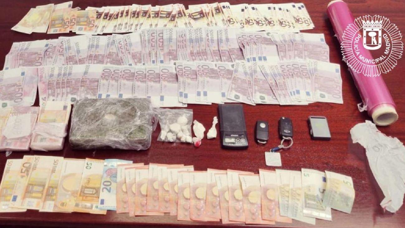 Dinero y droga incautados por la Policía Municipal de Madrid