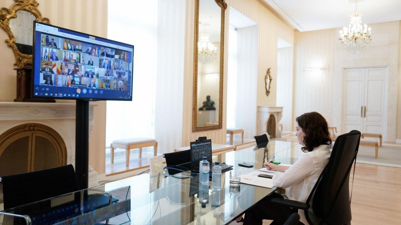 Isabel Díaz Ayuso durante la videoconferencia con Pedro Sánchez