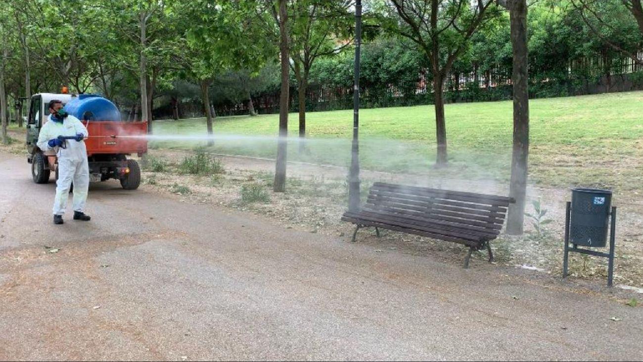 Desinfección de un parque de Móstoles