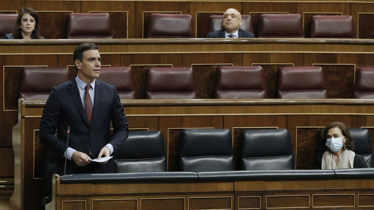 Pedro Sánchez durante la petición de una nueva prórroga del estado de alarma