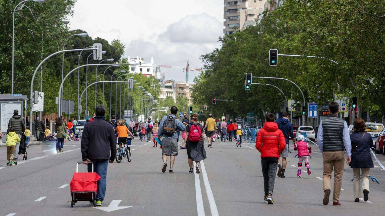 Una de las calles peatonalizadas en Madrid durante la desescalada