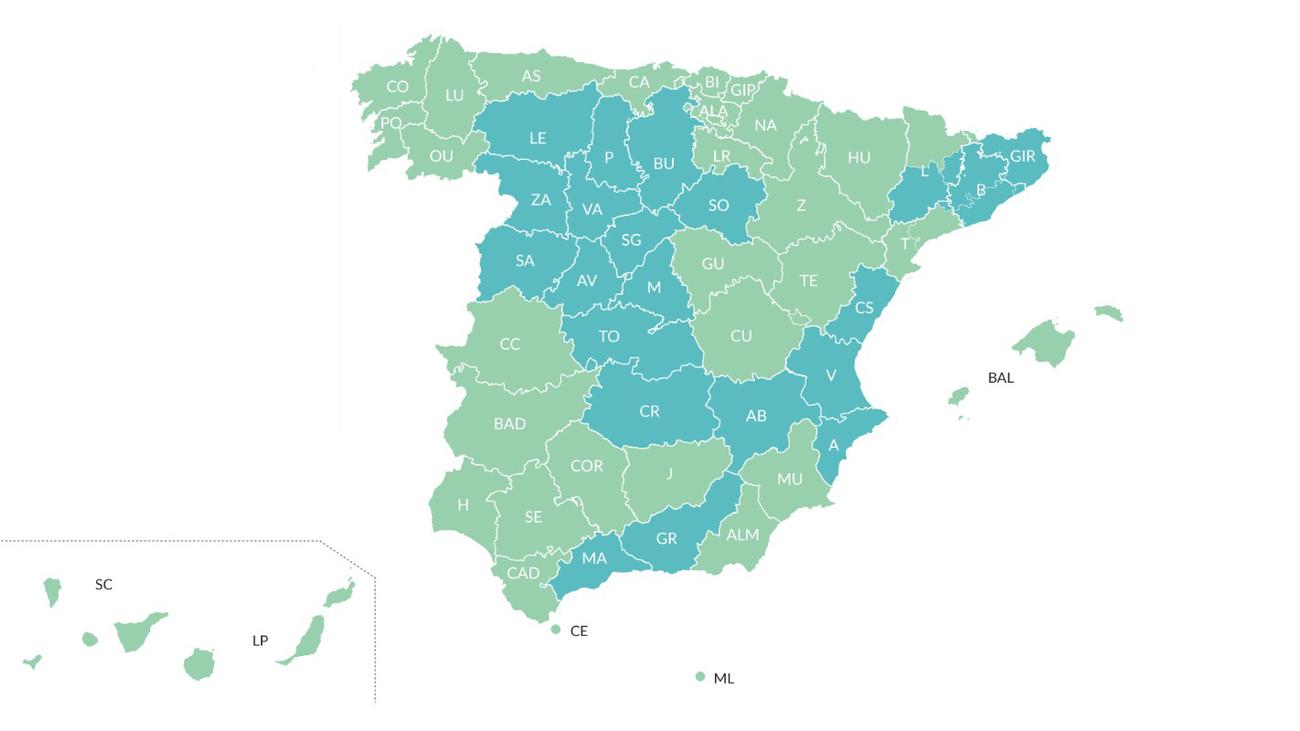 El nuevo mapa de las fases de desescalada de España, con el 47% de la población en fase 2