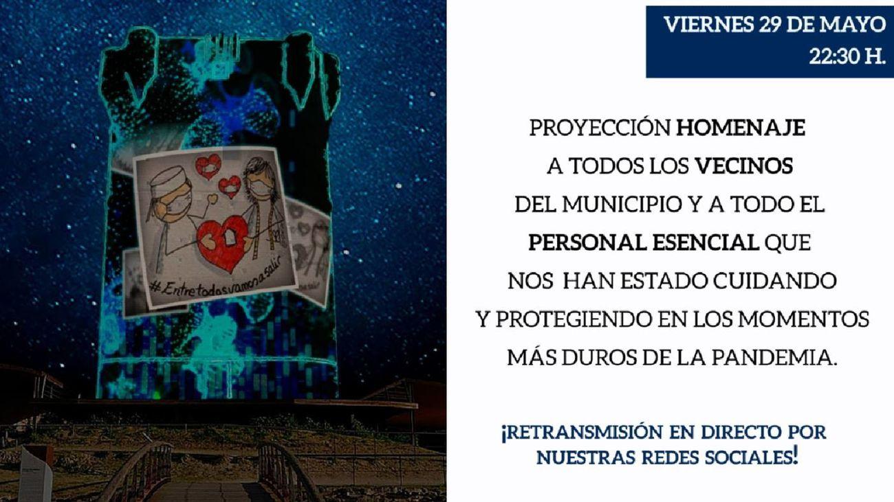 Arroyomolinos rinde homenaje a los servicios esenciales con la proyección de un 'vídeo mapping'