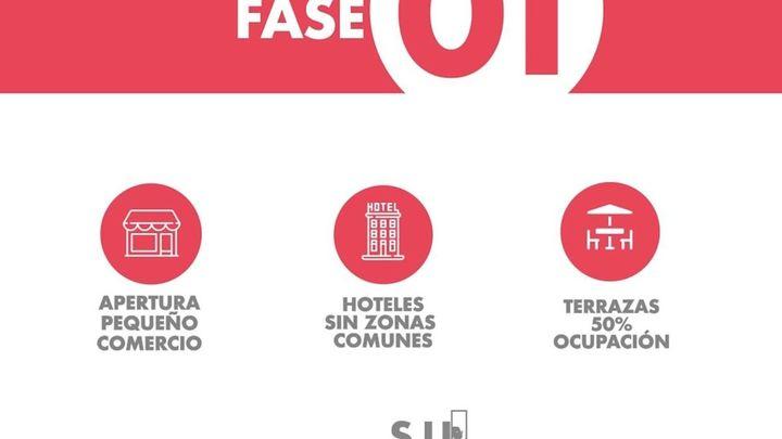 Las pantallas del Palacio de la Prensa  ofrecen información sobre las fases de la desescalada