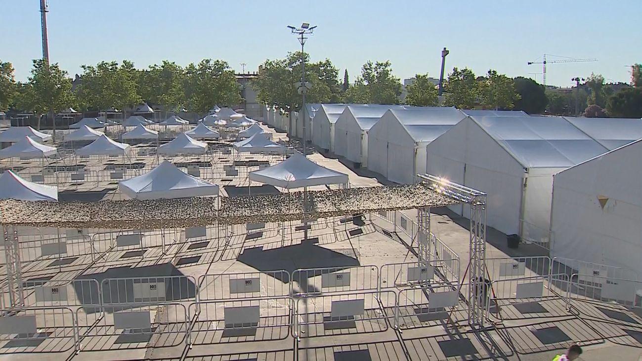 Carpas en el recinto ferial de Torrejón de Ardoz donde se quiere hacer el test serológico masivo a toda la población