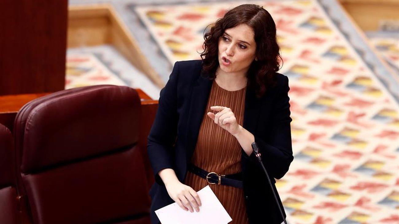 Isabel Díaz Ayuso durante su intervención en la Asamblea de Madrid