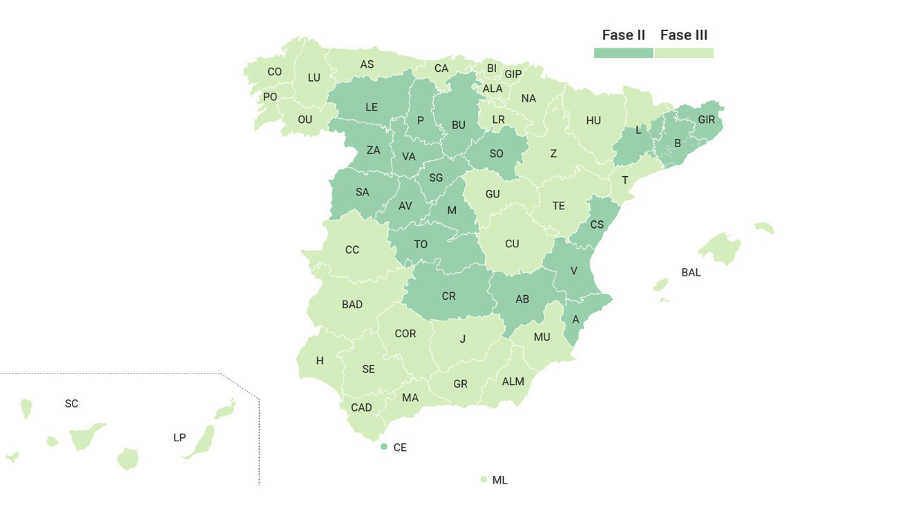 El mapa de fases de desescalada de España a partir del 8 de junio, con Madrid en fase 2