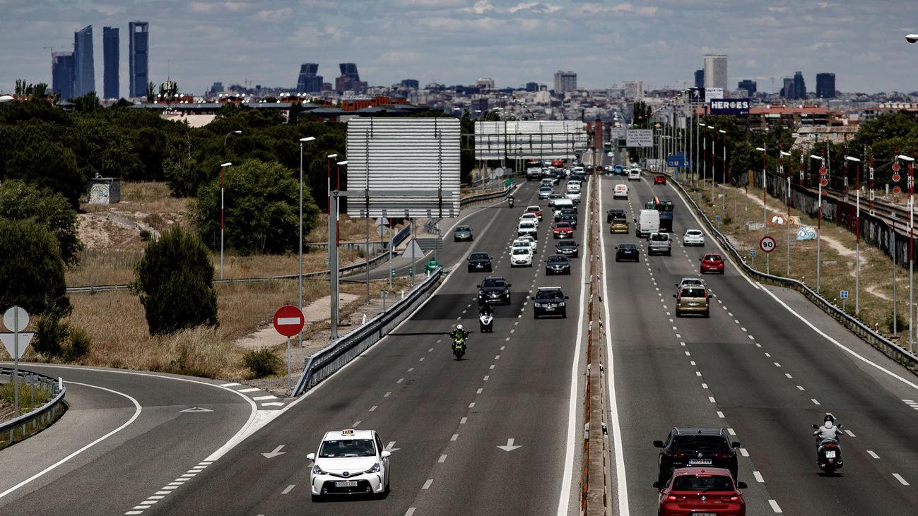 Imagen del tráfico en uno de los accesos a Madrid por la A-5