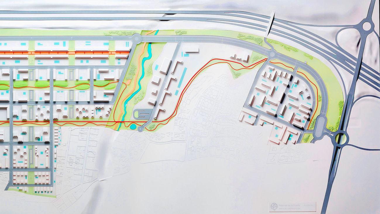 Maqueta del proyecto del nuevo barrio Retamar de la Huerta en Alcorcón