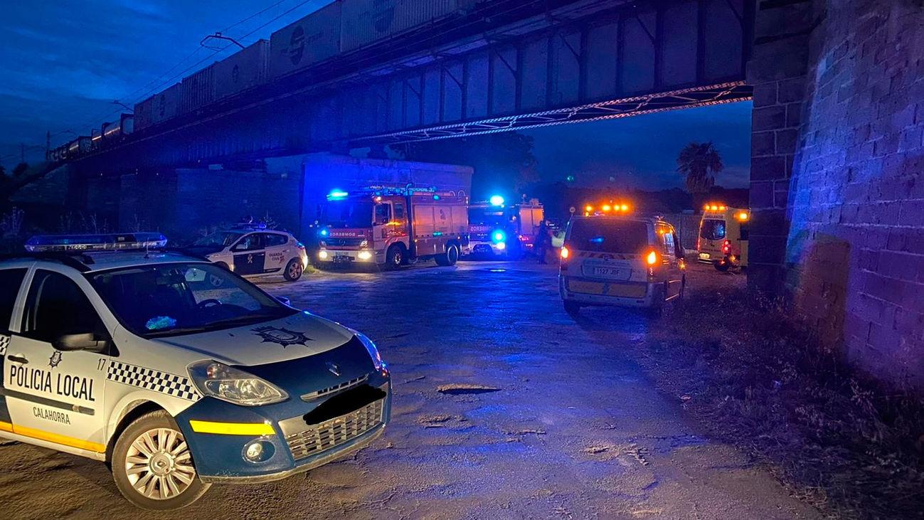 Lugar donde han sido atropellados dos jóvenes por un tren en Calahorra