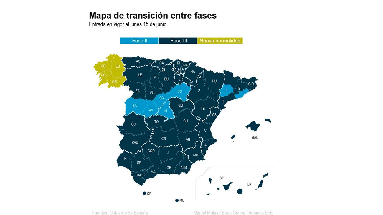 A partir del lunes 15, toda España estará en fase 3 menos Madrid, Barcelona, Lleida y parte de Castilla y León