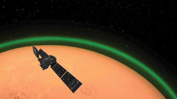 Detectan una línea verde de oxígeno en Marte por vez primera