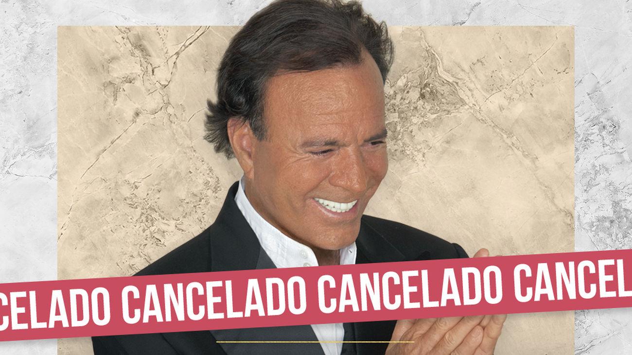 Cartel de cancelación de los conciertso de Julio Iglesias
