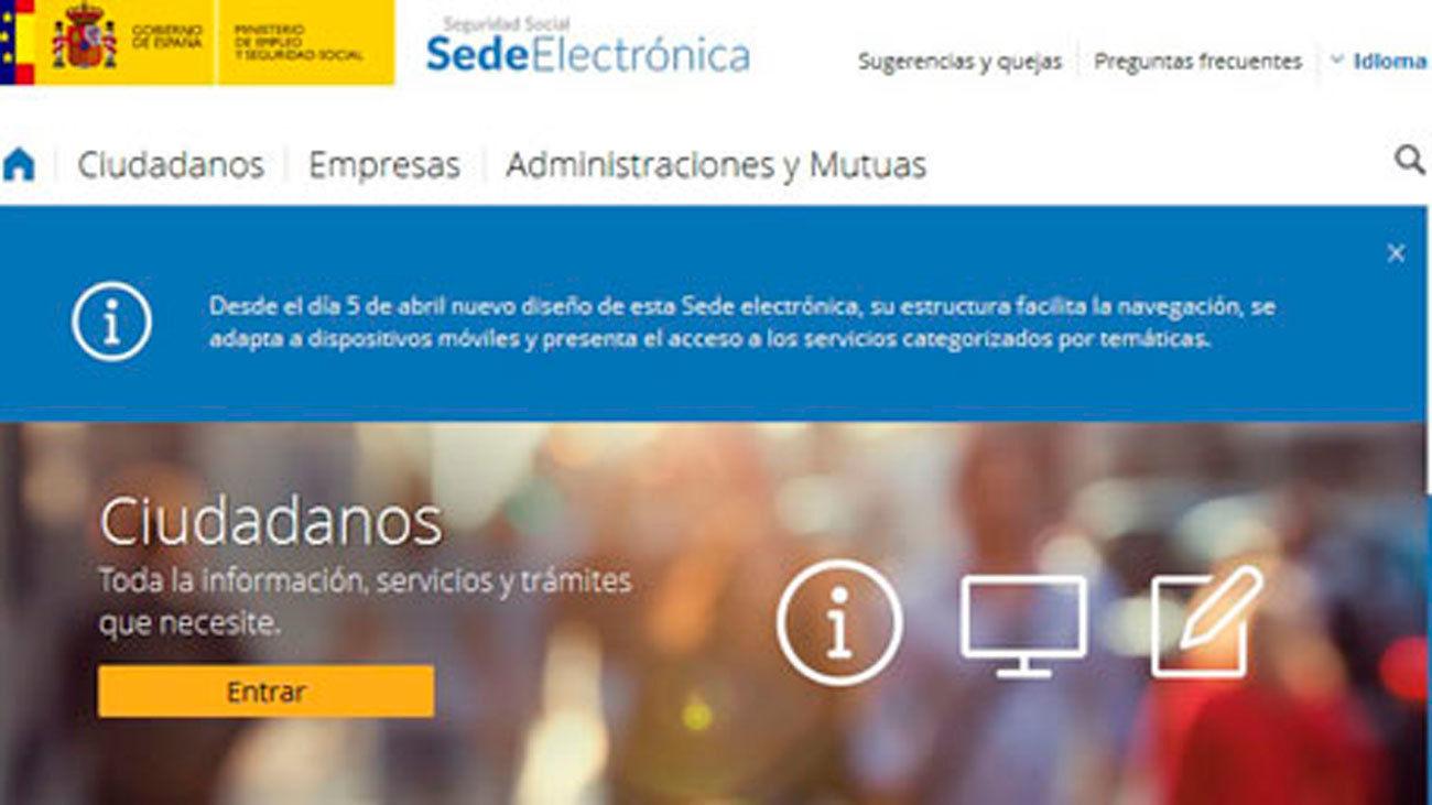 Sede electronica de  la Seguridad Social
