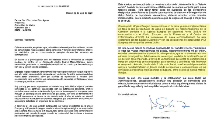 Sánchez asegura en una carta a Ayuso que el plan Barajas ya está en marcha
