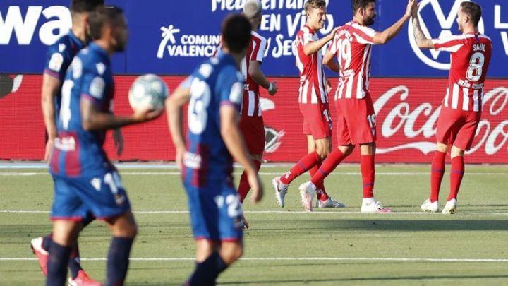 0-1. El Atlético vence al Levante y se afianza en la tercera plaza