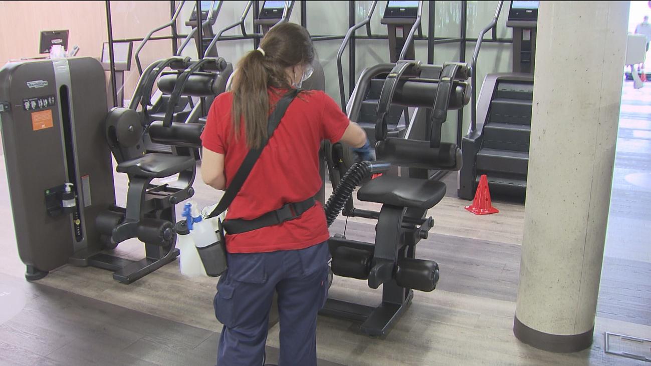 Primera semana de los gimnasios madrileños abiertos con estrictas medidas de higiene