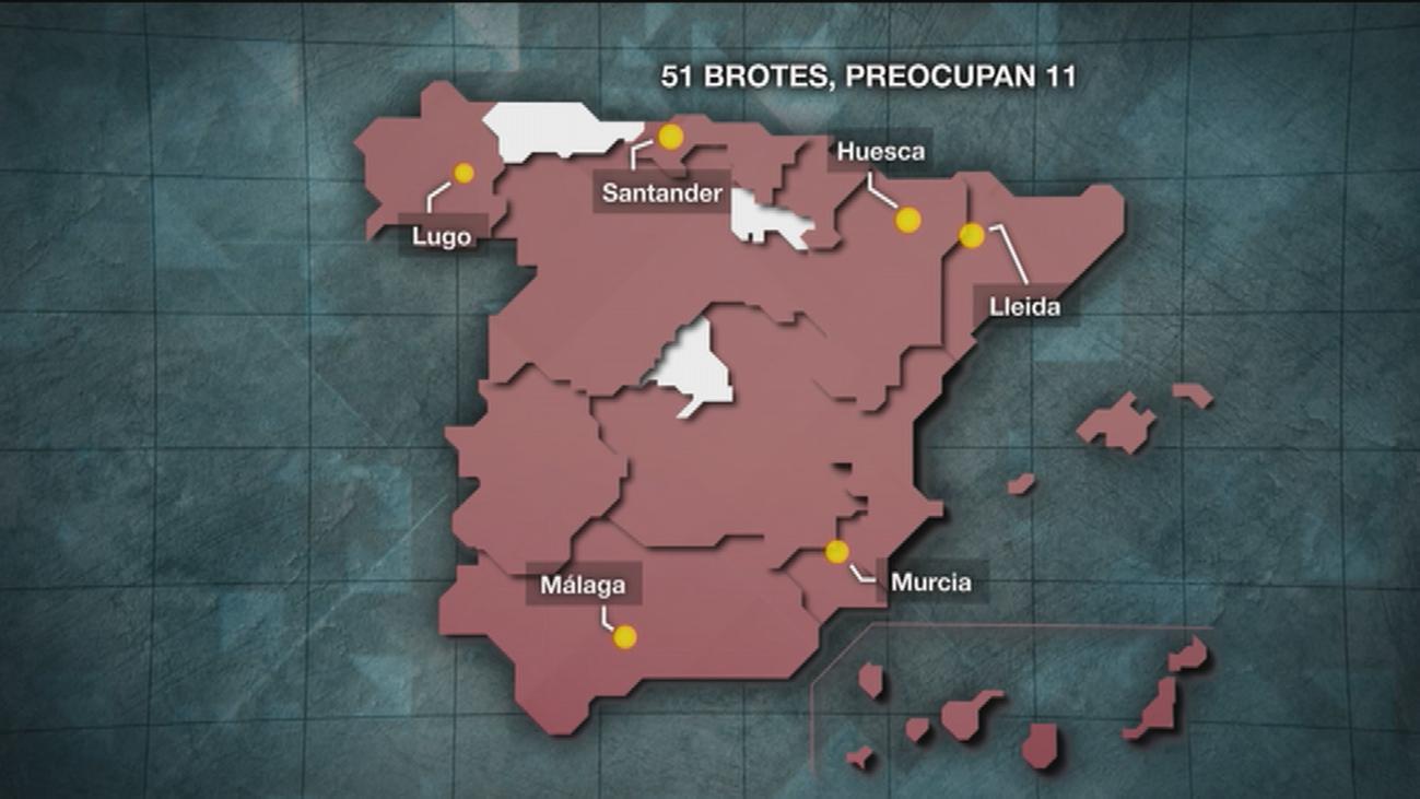 El mapa actual de rebrotes por coronavirus en España