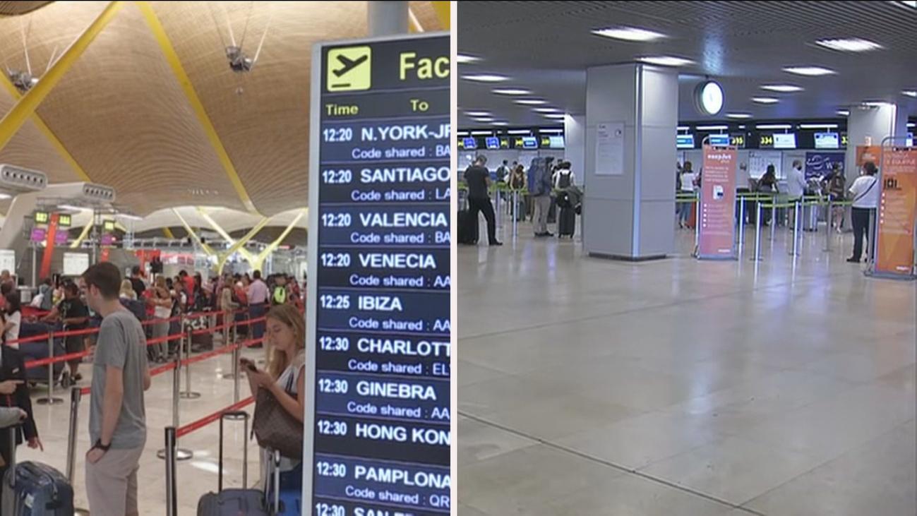 Reabre la T1 de Barajas con pocos viajeros para ser 1 de julio y con el recelo del Gobierno de Madrid