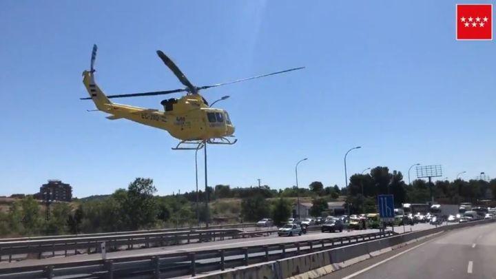 Herido un motorista al perder el control en la A-3 a la altura de Rivas