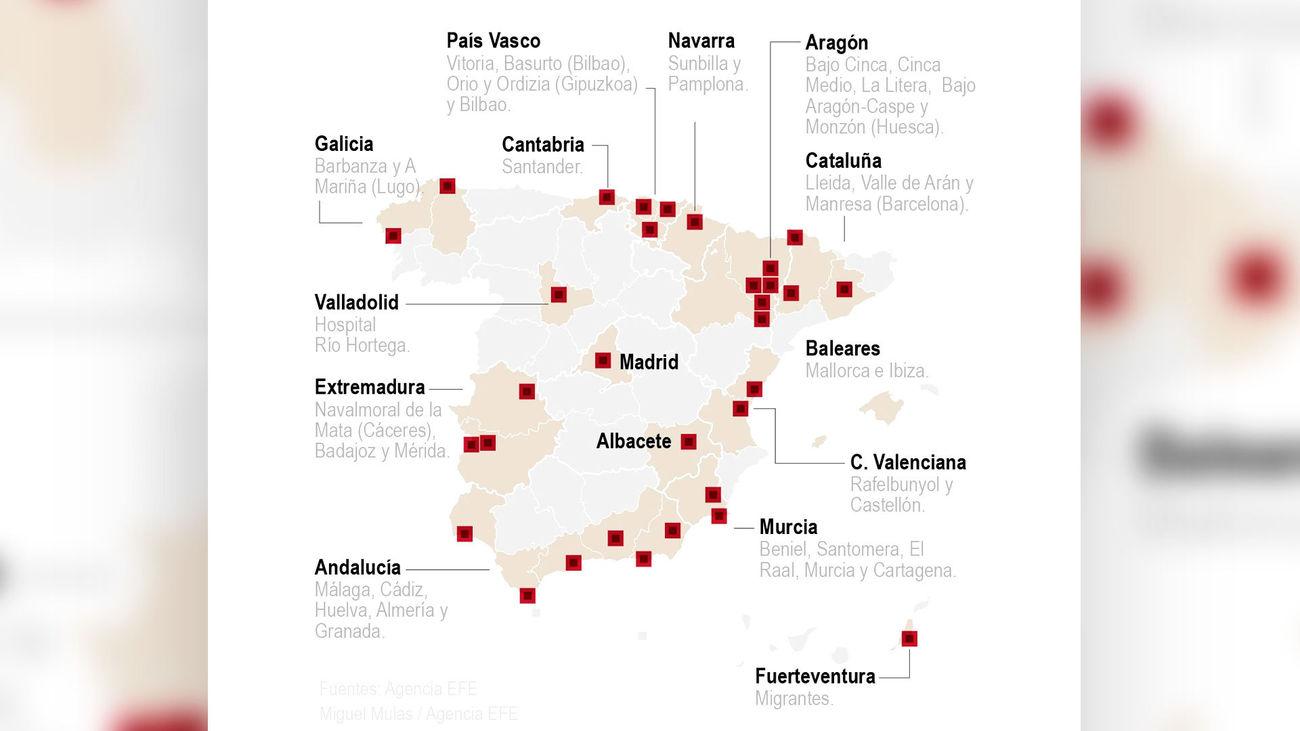 Mapa de los rebrotes de covid-19 en España a 6 de julio de 2020