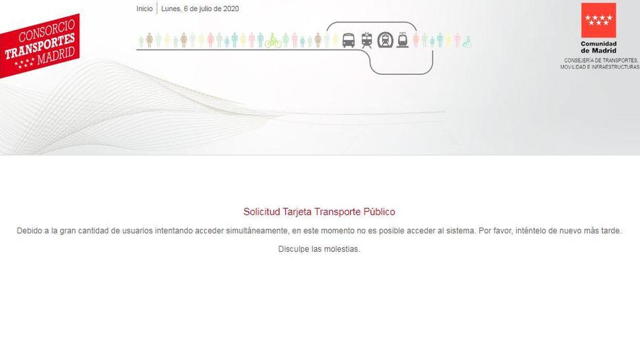 Web del Consorcio Regional de Transportes de Madrid (CRTM), colapsada para pedir la compensación del abono