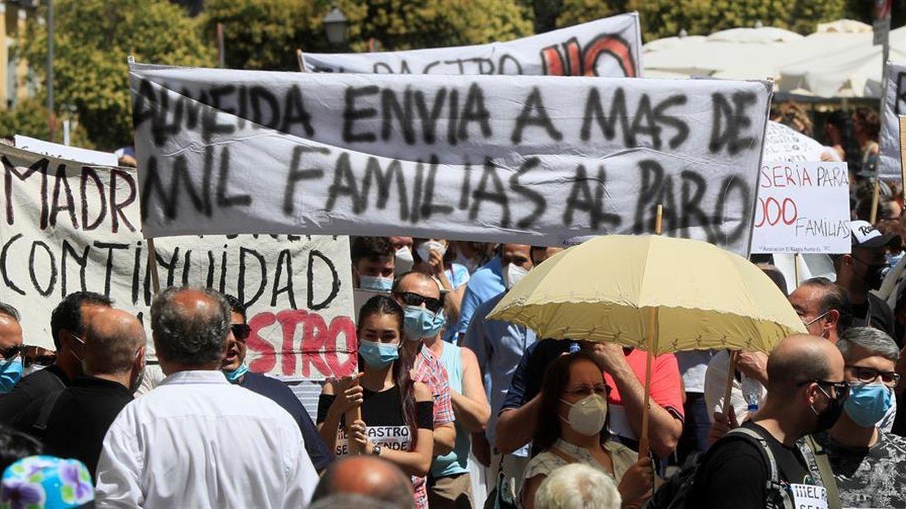 Protesta de los comerciantes de El Rastro de Madrid