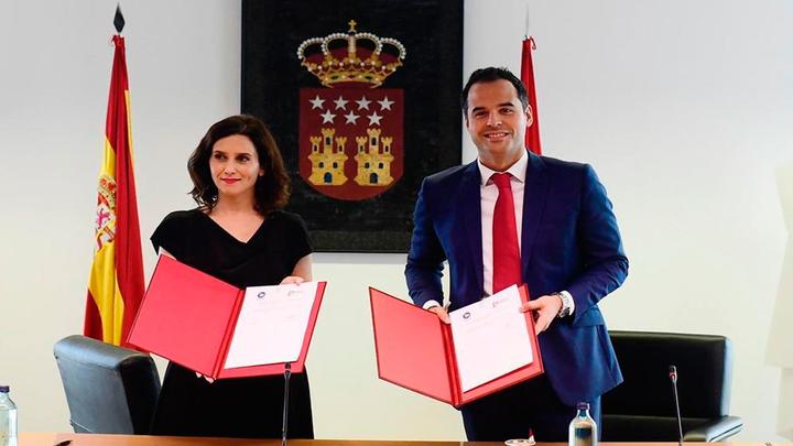 Ayuso y Aguado celebran un año del acuerdo PP y Cs en Madrid